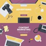 Grupo de conceitos lisos da ilustração do projeto para o negócio e o mercado Fotos de Stock Royalty Free