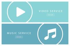 Grupo de conceitos lisos serviço video da ilustração do projeto e serviço da música Bandeiras para o design web, o mercado e a pr Fotos de Stock