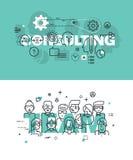 Grupo de conceitos modernos da ilustração do vetor da consulta e da equipe das palavras Fotografia de Stock Royalty Free
