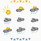 Grupo de condições meteorológicas ilustração royalty free