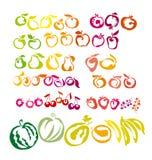 Grupo de ícones - bagas e frutos Fotos de Stock Royalty Free