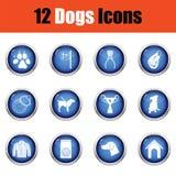 Grupo de ícones da criação de animais de cão Fotos de Stock