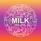 Grupo de ícones da leiteria Bandeira redonda com ícones do leite e dos produtos láteos em um fundo colorido Imagens de Stock