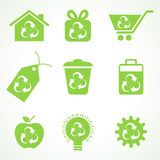 Grupo de ícones do eco Fotografia de Stock