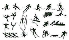 Grupo de ícones do esporte de inverno Foto de Stock