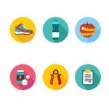 Grupo de ícones do esporte no projeto liso com por muito tempo Foto de Stock Royalty Free