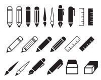 Grupo de ícones do lápis e da pena Imagem de Stock Royalty Free