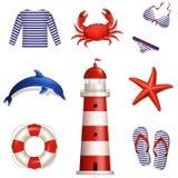 Grupo de ícones do mar e da praia. Ilustração do vetor. Fotos de Stock Royalty Free