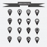 Grupo de ícones do ponteiro do mapa para o Web site e a comunicação Fotografia de Stock