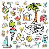 Grupo de ícones do verão da garatuja do vetor Fotos de Stock Royalty Free
