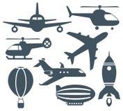 Grupo de ícones dos aviões Fotografia de Stock Royalty Free