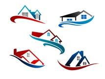 Grupo de ícones dos bens imobiliários Fotografia de Stock Royalty Free