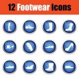 Grupo de ícones dos calçados Fotografia de Stock