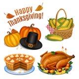 Grupo de ícones dos desenhos animados para o jantar da ação de graças, assado Turquia Fotos de Stock Royalty Free