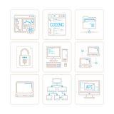 Grupo de ícones e de conceitos do computador de vetor na mono linha estilo fina Imagem de Stock Royalty Free