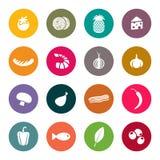 Grupo de ícones em um alimento do tema Fotos de Stock Royalty Free