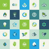 Grupo de ícones lisos da natureza do projeto Foto de Stock Royalty Free