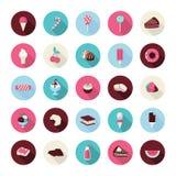Grupo de ícones lisos da sobremesa do projeto Foto de Stock Royalty Free