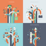 Grupo de ícones lisos do conceito de projeto para o negócio e o mercado Fotos de Stock