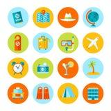 Grupo de ícones lisos do curso e do turismo Fotos de Stock Royalty Free