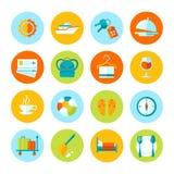Grupo de ícones lisos do curso e do turismo Imagens de Stock Royalty Free