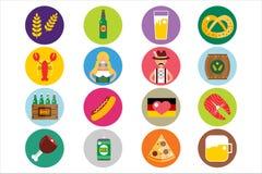 Grupo de ícones lisos do vetor de Oktoberfest Cerveja da garrafa Fotos de Stock