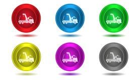 Grupo de ícones na cor, ilustração, caminhão Fotografia de Stock Royalty Free