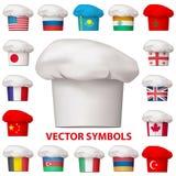 Grupo de ícones nacionais da culinária Símbolos do vetor Fotografia de Stock Royalty Free