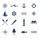 Grupo de ícones náuticos da navigação do oceano do mar Fotografia de Stock