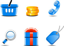 Grupo de ícones para a loja em linha Imagens de Stock