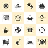 Grupo de ícones pretos do curso e do turismo Fotografia de Stock