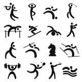 Grupo de ícones pretos do esporte Fotografia de Stock