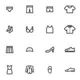 Grupo de ícones roupa do vetor, roupa interior, acessórios, sapatas, roupa em um fundo claro Imagens de Stock