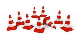 Grupo de conos del tráfico Fotos de archivo libres de regalías
