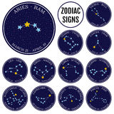 Grupo de constelações do zodíaco no espaço Vetor bonito do estilo dos desenhos animados Imagens de Stock Royalty Free