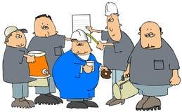Grupo de construção antes do trabalho ilustração stock