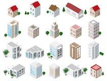 Grupo de construções isométricas detalhadas da cidade 3d: casas privadas, arranha-céus, bens imobiliários, construções públicas,