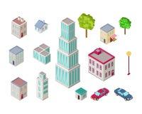Grupo de construções da cidade na projeção isométrica Foto de Stock