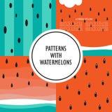 Grupo de contextos com melancia ilustração royalty free