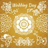 Grupo de convite do casamento com flores, corações, anjo e pássaro. Fotografia de Stock