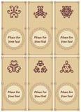 Grupo de convite ou de cartão do vintage, com laço e o ornamento abstrato Foto de Stock Royalty Free