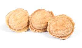 Grupo de cookies caseiros das porcas com leite condensado fotos de stock royalty free