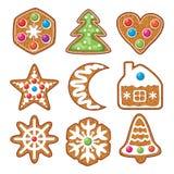 grupo de cookies coloridas do pão-de-espécie do xmas ilustração stock