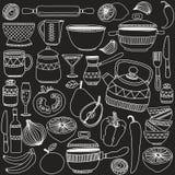 Grupo de cookware tirado mão Imagens de Stock