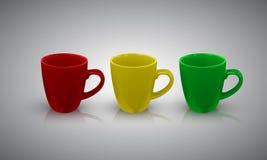Grupo de copo da porcelana da cor com reflexão e de sombra isolada no fundo Ilustração Imagens de Stock