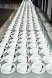Grupo de copos de café Copos vazios para o café Muitas fileiras do copo branco para o chá ou o café do serviço no café da manhã n Fotos de Stock