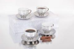 Grupo de copos do café ou de chá Foto de Stock Royalty Free