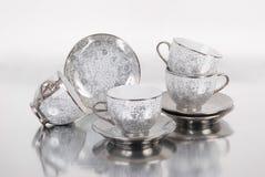 Grupo de copos do café ou de chá Foto de Stock