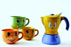 Grupo de copos e de fantasia de café Fotos de Stock Royalty Free