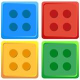 Grupo de cor colorido azul, vermelho, amarelo, verde do vetor quatro da ilustração de Lego Toy Fotografia de Stock Royalty Free
